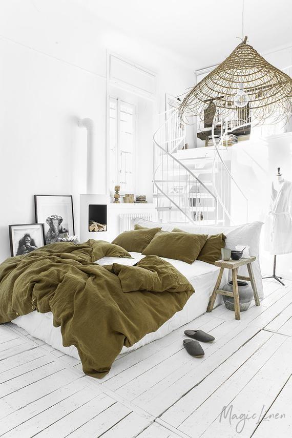 Linen Bedding Set In Olive Green Linen Duvet Cover 2