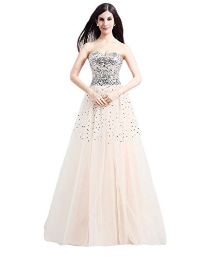 Stocknitree Champagne Sweetheart Beaded Sequins Long Prom Dresses