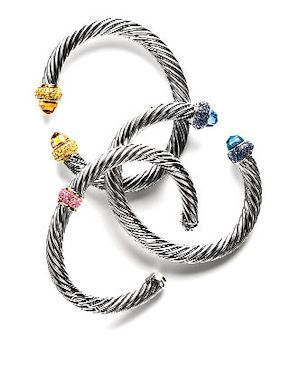 Спиралевидные браслеты от David Yurman, серебро, золото, драгоценные камни.