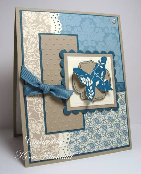 Beautiful blue butterfly handmade card!