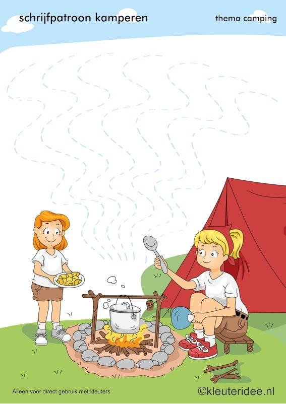 Schrijfpatroon kamperen voor kleuters, thema camping, kleuteridee.nl, preschool writing pattern, camping theme, free printable.