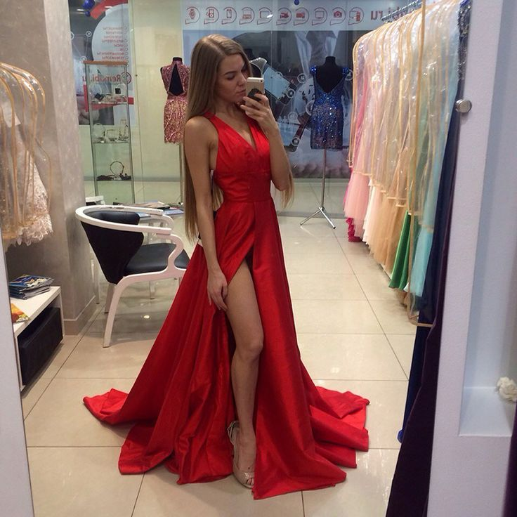 OMY037 2016 New Arrival Long Red Prom Dresses Satin A-Line V-Neck Sleeveless Court Train Prom Party Dress Formal Gowns with Slit * AliExpress Affiliate's buyable pin. Item can be found on www.aliexpress.com by clicking the VISIT button #Dresses