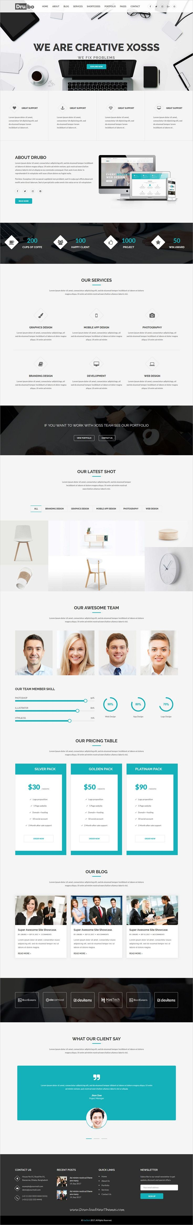 Drubo is clean and modern design 3+ responsive WordPress theme for beautiful corporate #business website to live preview & download click on Visit  #wordpressthemes #webdev