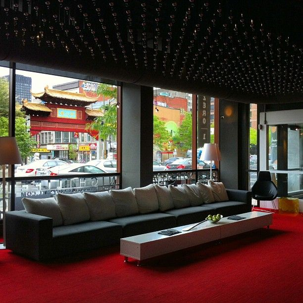 The contemporary lobby of Hotel Zero 1 with Chinatown just across the street.