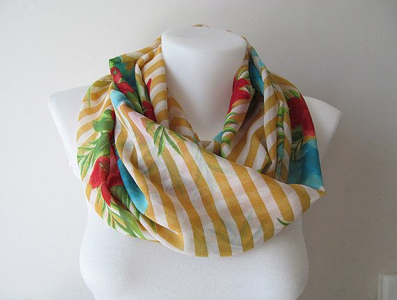 Yellow White Floral Striped Pattern Scarf by NaryasSewingCorner