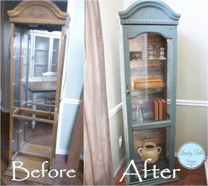 @Lumley Belle Designs painted curio cabinet with Lumley Belle Milk Paint in Atlantic. Plank pallet wood back. #reclaimed #lumleybelle #lumleybellemilkpaint #milkpaint #DIY #Plank #Pallet #palletwood #refinish #paint