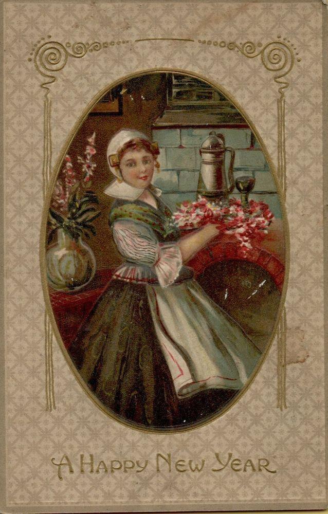 Vtg New Years Victorian Preety Girl Embossed c1910 Greetings Postcard