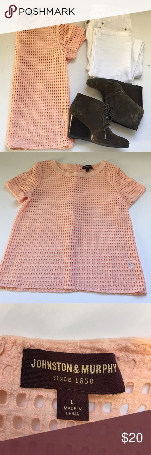 🎉clearance 🎉(PINK) fishnet tee Excellent used condition/ NO TRADES/ make me an offer/ measurements upon request/ smoke free pet free home!🎉💕😍 johnston&murphy Tops Blouses