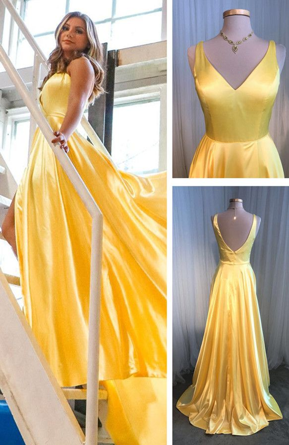 db66008187 Simple V Neck Yellow Long Prom Dress in 2019