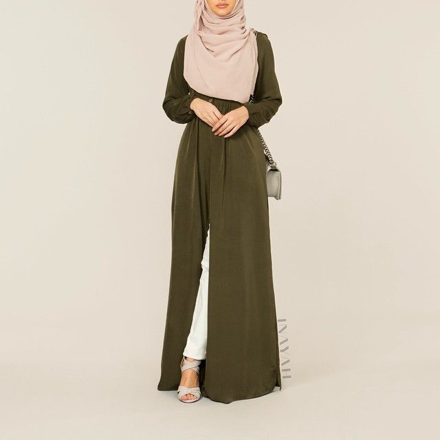 - The khaki trend is back with our style friendly abaya! Made from breathable fabric it's a go to for your upcoming vacations. Wear open or closed for your sought after look. Army Green Open Front Abaya Nude Maxi Georgette Hijab www.inayahcollection.com