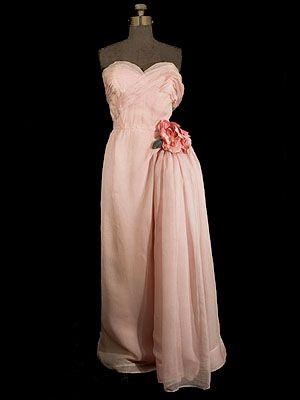 "Dior-New York silk chiffon evening gown, c.1950. Label: ""Christian Dior-New York/Original."""