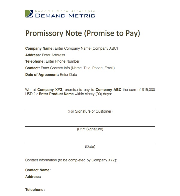Promise to Pay Template This is a simple form where one party – Promise to Pay Contract Template