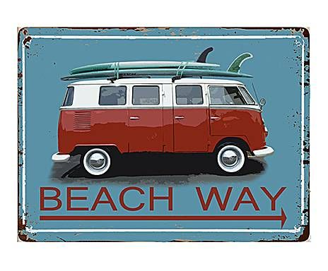 HAWAII DREAM: TARGA DECORATIVA IN METALLO BEACH WAY - 35X26 CM