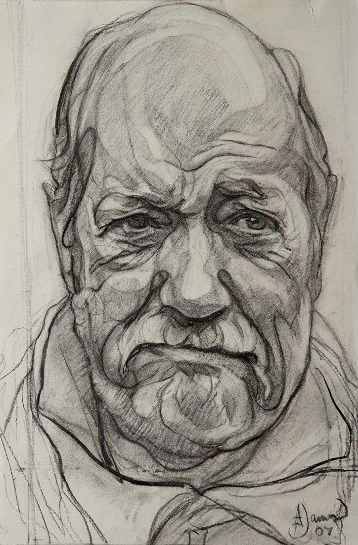 Sir Wally Herbert   2006   Charcoal on Paper  18 x 14/  46 x 36