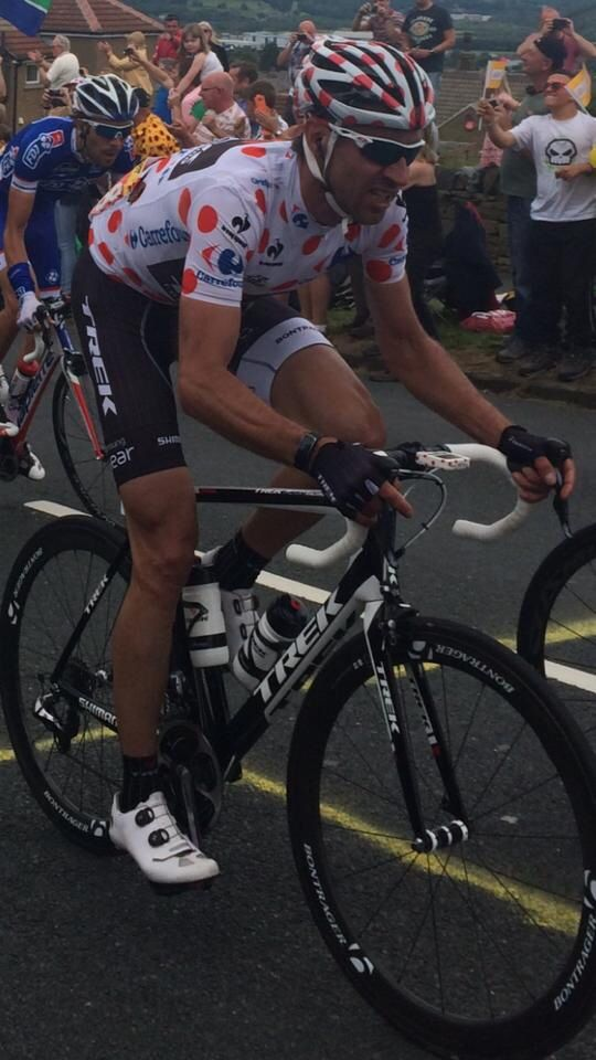 Jens Voight stage 2 in Pokadot Jersey TDF 2014