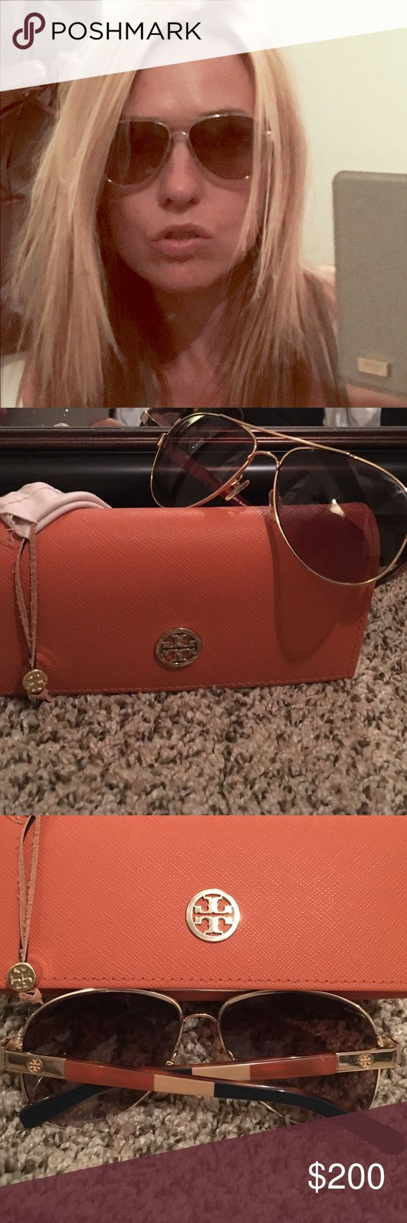 Tory Burch Gold Aviators Tory Burch Gold Aviators with brown, blue, tan & gold Tory Burch symbol.  In good condition with all original items from Sunglass hut. Tory Burch Accessories Glasses
