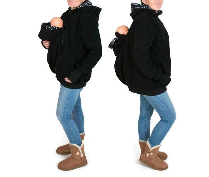 Fashion Maternity Women Hoodies Sweatshirts Zipper Solid Baby Carrier Jacket Winter Cotton Pregnant Kangaroo Coat Babywearing