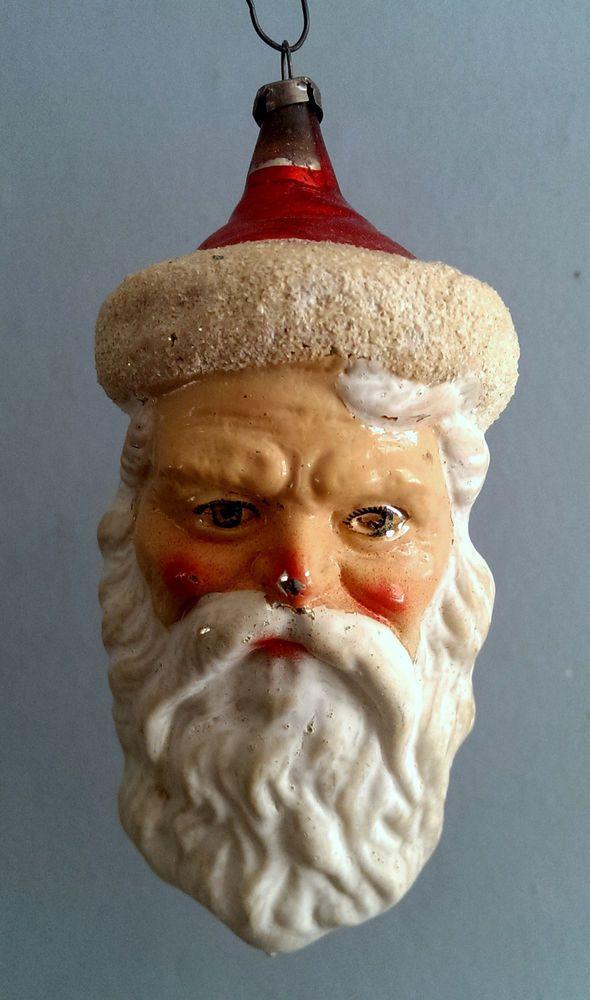 Antique German Blown Glass Santa Head Christmas Ornament Vintage Mercury