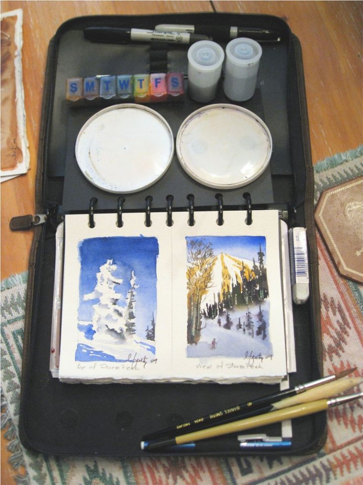 Travel Watercolor Journal | Larry Fentz Studio – Orginal Watercolors ..... I like this little travel set idea of using a pill sorter for paint.