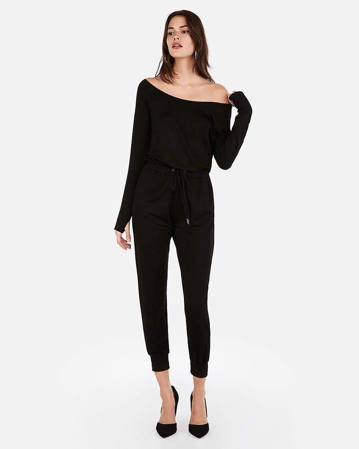 1d57ad76073 Olivia Culpo Off The Shoulder Tie Waist Jumpsuit Black Women s L in ...
