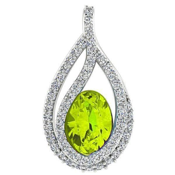 Oval Peridot and 0.20 cwt Diamond Pendant 18K White Gold