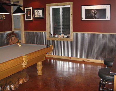 galvanized steel wainscot bar. Good idea for a man cave or a mans garage/shop