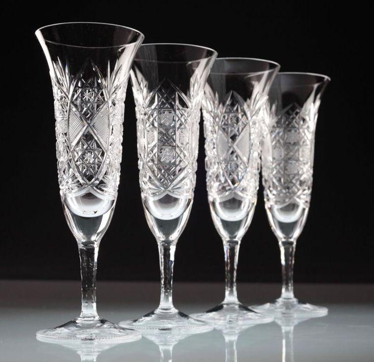 4 Vintage Sektgläser Champagnergläser Sternschliff Linienschliff alte Gläser