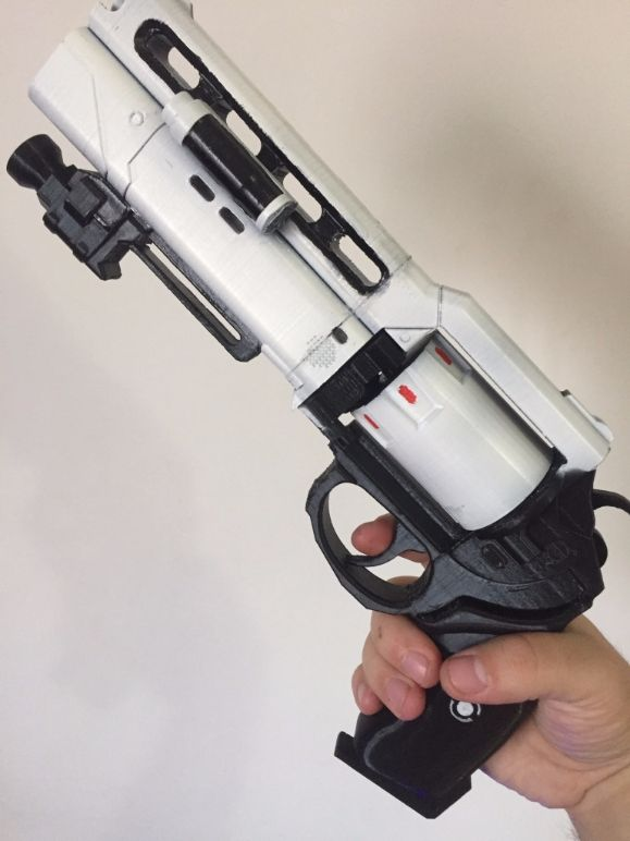 Hi! You are purchasing a 3d printed, already assembled model of Imago Loop inspired by world well-known game Destiny.  This prop is handmade, 3d printed of PLA plastic, which is friendly to human, painted and varnished.  This pistol has movable cylinder and a bullet.  Average time to make this gun is about 12-15 days.  Dimensions are: 35 cm length, 7 cm width and 20 cm height  Thank you    #destiny #cosplay #prop #destinycosplay #handcannon #Imagooop #DestinyImagoLoop #plastic #pla…