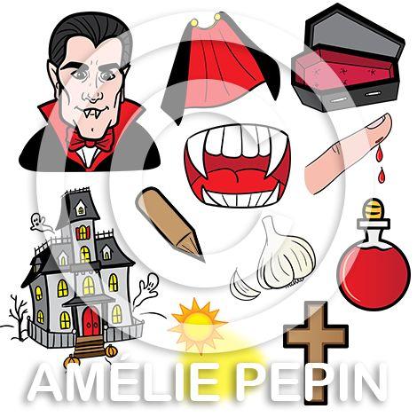 11 pictogrammes en couleurs + 11 pictogrammes en noir et blanc Format: PNG avec fond transparent Taille approximative: 8 po. X 8 po. @ 300 dpi  Le dossier contient: - 1 visage de vampire - 1 cape - 1 cercueil - 1 maison hantée - 1 bouche avec dents pointus - 1 doigt qui saigne - 1 potion rouge - 1 gousse d'ail - 1 lumière du jour - 1 crucifix - 1 pieu Ces pictogrammes sont conçus pour être imprimés d'une taille maximale de 8 po. X 8 po. Cliquez sur le bouton Aperçu afin de les visualiser.
