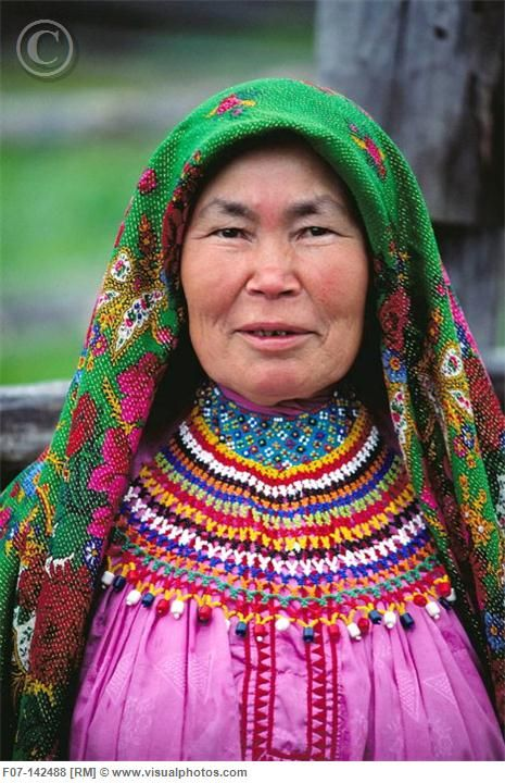 Mansi woman in traditional dress. Siberia, Russia.
