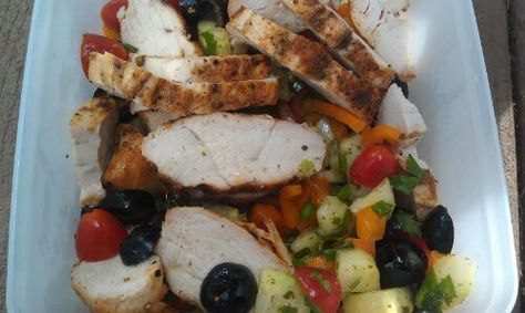 Try this delicious Lemon Greek Salad with Grilled Chicken Medifast recipe. This is a lean and green recipe, which is compliant with the Take Shape For Life program.