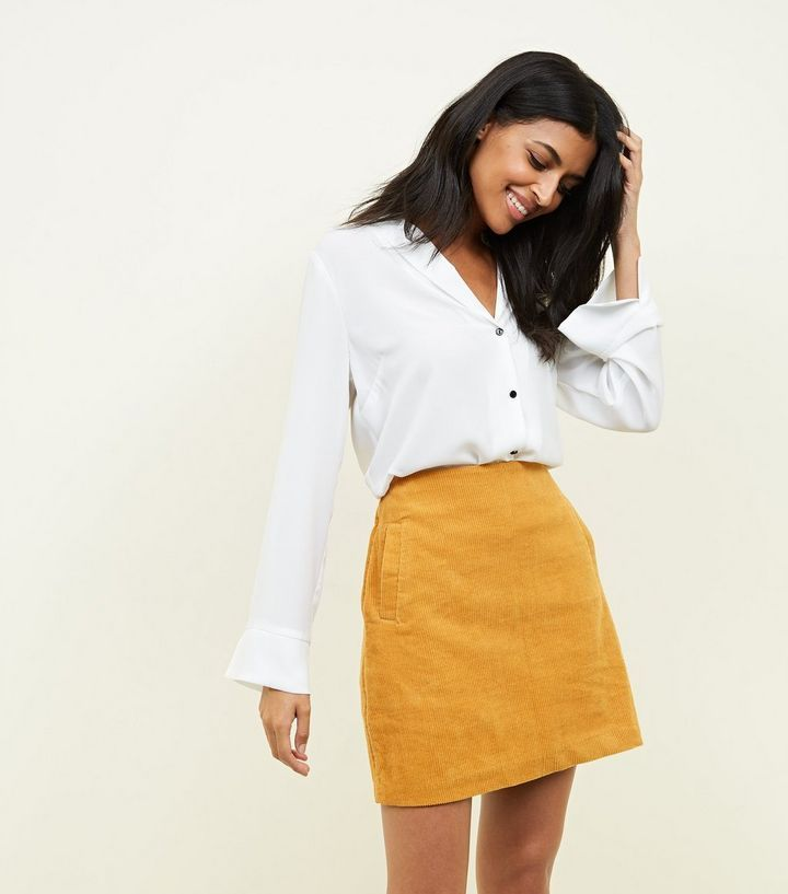 012aba095 Yellow Corduroy Mini Skirt   New Look Yellow Denim Skirt, Mustard Yellow  Skirts, Yellow