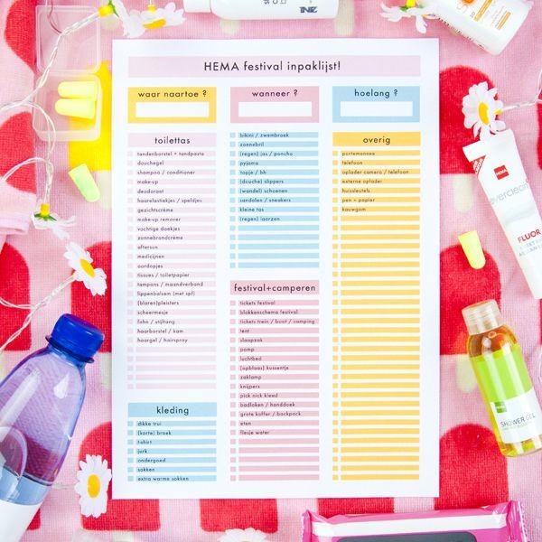 Hoewel sommige festivals maar een dag of drie duren, is het toch best een werkje om je tas in te pakken. Gelukkig heeft HEMA een heleboel mini producten die weinig ruimte innemen en vind je in dit artikel een festival-inpak-checklist zodat je niks vergeet. Zo wordt inpakken voor een festival een fluitje van een cent!
