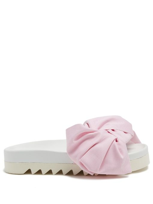 JOSHUA SANDERS Gingham Bow Platform Slides. #joshuasanders #shoes #sandals