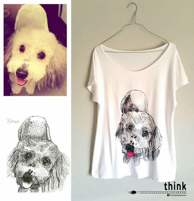 Handpainted canis dog illustration on white t-shirt. #handmade #handpainted #tshirt