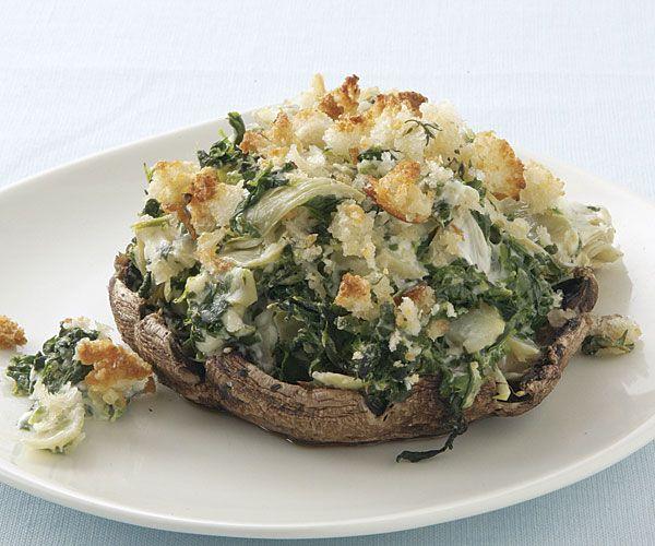 Creamy Spinach  Artichoke Portabella Mushrooms With Crispy Breadcrumb Topping.