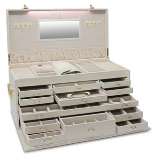 Morelle Largest Genuine Leather Jewelry Box w/ LED light | Overstock.com Shopping - Big Discounts on Leather Jewelry Boxes