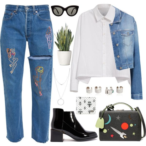 DAY WEAR - Good For Nothing Emb Embroidered Jeans by tamo-kipshidze on Polyvore featuring Y's by Yohji Yamamoto, 7 For All Mankind, Mark Cross, Maison Margiela, Botkier, Victoria Beckham, Dolce&Gabbana and PLANT