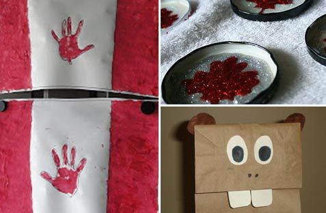 5 Cute Canada Day Crafts.  Beaver, Handprint flag, rocks painted with flag, magnet, Windsock.