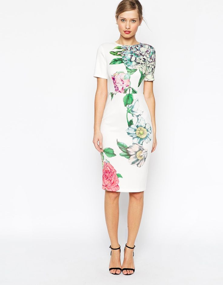 Love love love for rehearsal dinner!!!!!!!  ASOS Premium Placed Crayon Floral Bodycon Dress