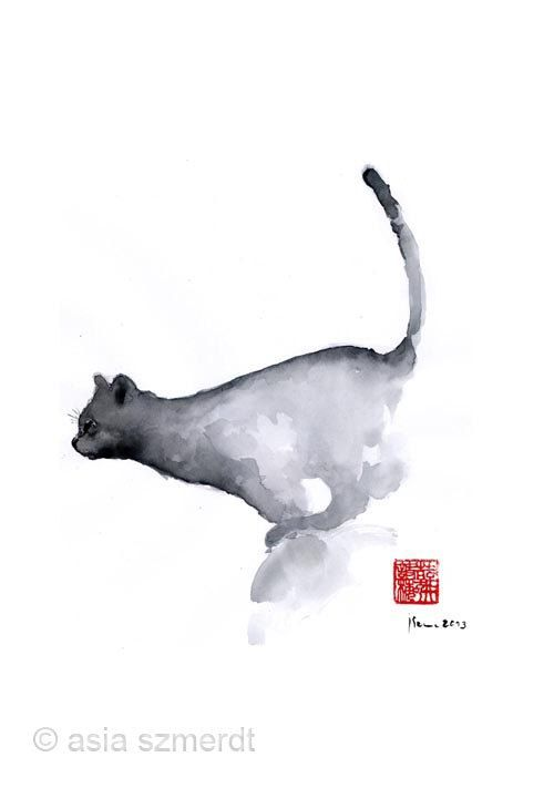 Оригинальный ручной работы черный и серый котенок кошка акварель