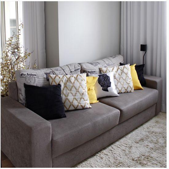 Sof cinza e almofadas com contraste house decoraci n for Sofa cama decoracion