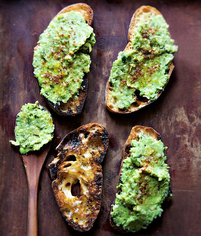 Fava bean, Lima bean or edimame spread. With lemon zest, herbs and chiles?