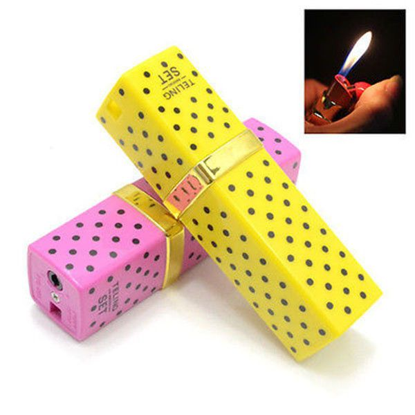 2pcs Lipstick Shaped Cigarette Refillable Butane Gas Flame Torch Lighter Gift