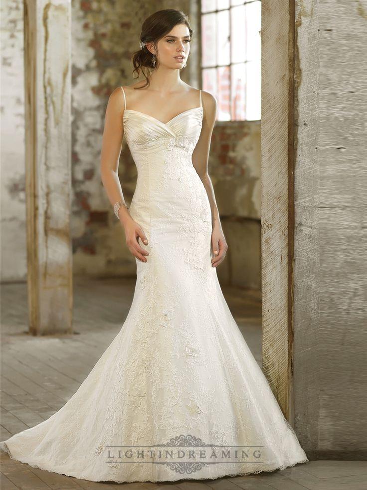 Spaghetti Strpas Ruched V-neckline Trumpet Taffeta Wedding Dresses - LightIndreaming.com