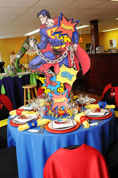 Superhero party! Each table has a different superhero element. How cool is that?
