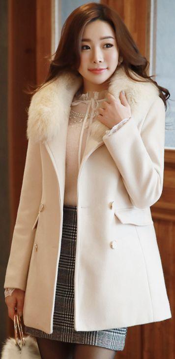 StyleOnme_Double-Breasted Wool Blend Half Coat #ivory #wool #coat #koreanfashion #kstyle #kfashion #wintertrend #seoul