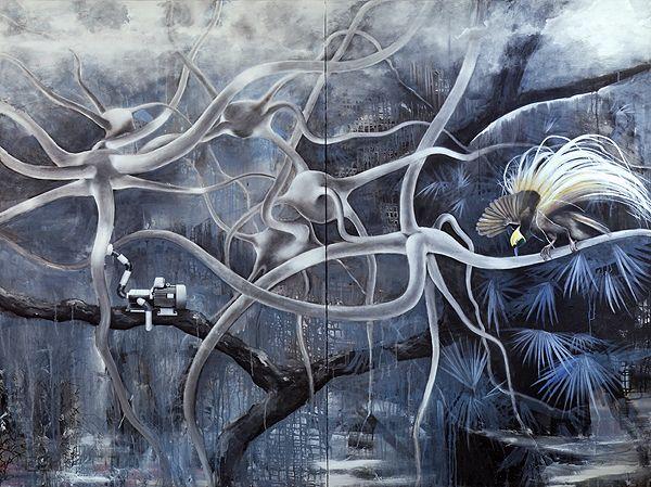 Paradisevogel - Paradise bird on neurons - by Gunter Pusch