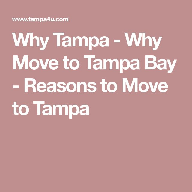 Why Tampa - Why Move to Tampa Bay - Reasons to Move to Tampa