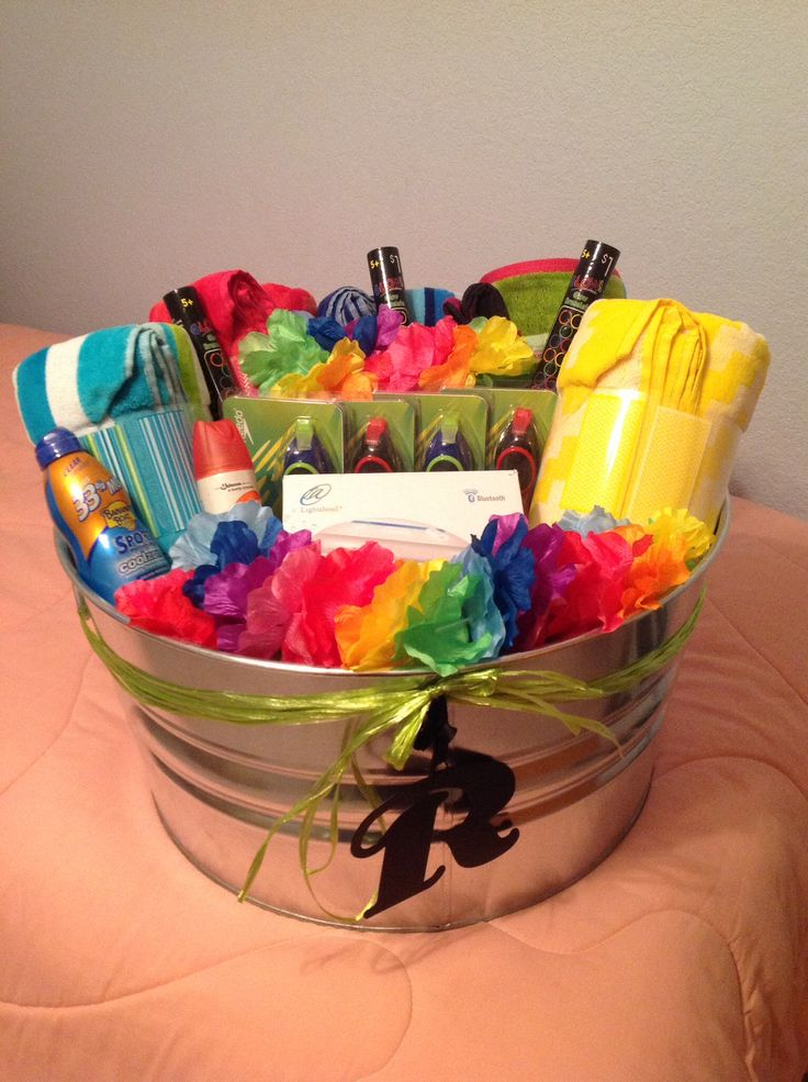 Pool Gift Ideas beachpool gift basket Summer Gift Basket Towels Goggles Glow Sticks Sun Screen Bug Spray